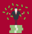 devil businessman standing on growth money stairs vector image vector image