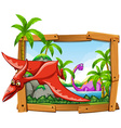 Dinosaurs in wooden frame vector image vector image