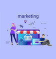 flat design banner of e-commerce and e-shopping vector image vector image