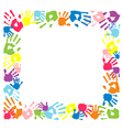 Frame made from color handprints vector image
