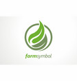 fresh farm food logo design concept in circle vector image