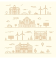 Green city silhouette eco infographic element line vector image