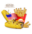 grilled corn and french fries realistic vector image vector image