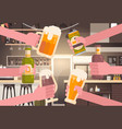 group of hands clinking beer people in pub or bar vector image vector image