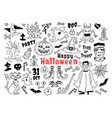 halloween doodle icon set sketch of icons for vector image