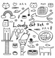 hand drawn doodle lovely cat set vector image