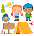 happy children in a camping site vector image vector image