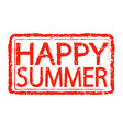 happy summer stamp text design vector image