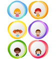 label designs with happy kids vector image vector image