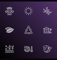 landscape icons line style set with reduce waste vector image
