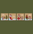 large set christmas cards year bull vector image vector image