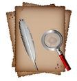 old paper white feather and magnifer vector image vector image