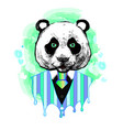 panda in a suit wall stickers watercolor vector image vector image