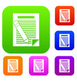 paper and pencil set collection vector image vector image