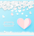 paper art style valentines day greeting card vector image vector image