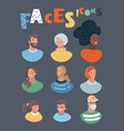 people heads and faces images collection vector image