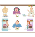 people on diet cartoon set vector image