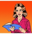 Pretty Smiling Pop Art Young Woman Reading Book vector image vector image