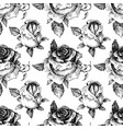 roses seamless pattern black and white vector image vector image