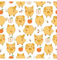 seamless pattern with cartoon yellow pigs red vector image vector image