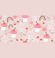 seamless pattern with cute cupcakes and rainbows vector image vector image