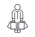 shopper man with bags linear icon sign symbol vector image vector image