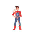 smiling farmer standing and holding pitchfork in vector image vector image