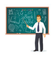 smiling teacher with pointer stick vector image vector image