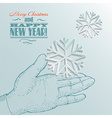 snowflake on a palm- christmas background vector image