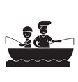son and dad fishing black concept icon son vector image