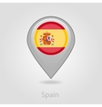 Spanish flag pin map icon vector image