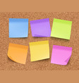 sticky empty notes corkwood board on wall with vector image vector image