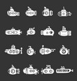 submarine icons set grey vector image vector image