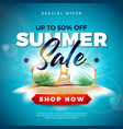 summer sale design with exotic palm leaves in vector image