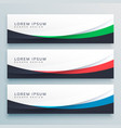 three wavy web banners header design vector image vector image
