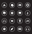 white simple flat icon set 6 with circle frame vector image