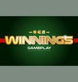 winnings word text logo banner postcard design vector image vector image