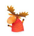 winter moose or elk wearing sweater greeting card vector image