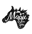 with horse black silhouette head and lettering vector image vector image