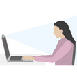 woman at home office video conference vector image vector image