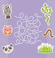 zebra panda owl labyrinth game for Preschool vector image vector image