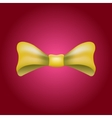 Glamorous 3d bow tie Yellow on red vector image