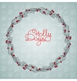 Christmas floral wreath with holly berry and vector image