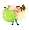 girl with an apple vector image