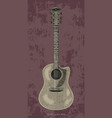 acoustic guitar hand drawing vintage engraving vector image