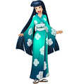 Asian Woman In Blue Kimono vector image vector image