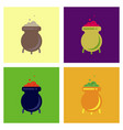 assembly flat icons cauldron witches potion vector image vector image