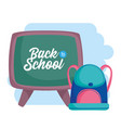 back to school education backpack and chalkboard vector image