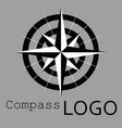 black and white compass logo icon rose vector image vector image