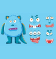 blue monster with different facial expression vector image